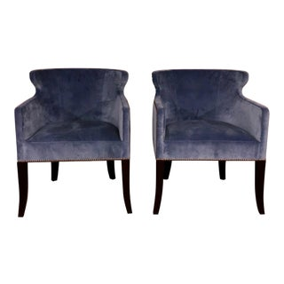 Brand New Ironies Tuktu Dining Chairs in Blue Velvet - a Pair