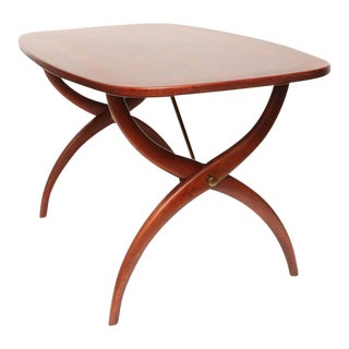 Rosewood & Brass Curved Leg Coffee Table by Yngve Ekström for Westbergs, Sweden For Sale