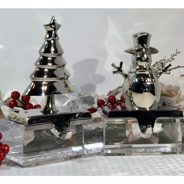 Vintage Christmas Tree and Snowman Stocking Hangers Silver Hooks - Set of 2 For Sale In Phoenix - Image 6 of 8