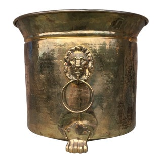 XL Vintage Regency Solid Brass Planter W/ Lions Head & Feet For Sale