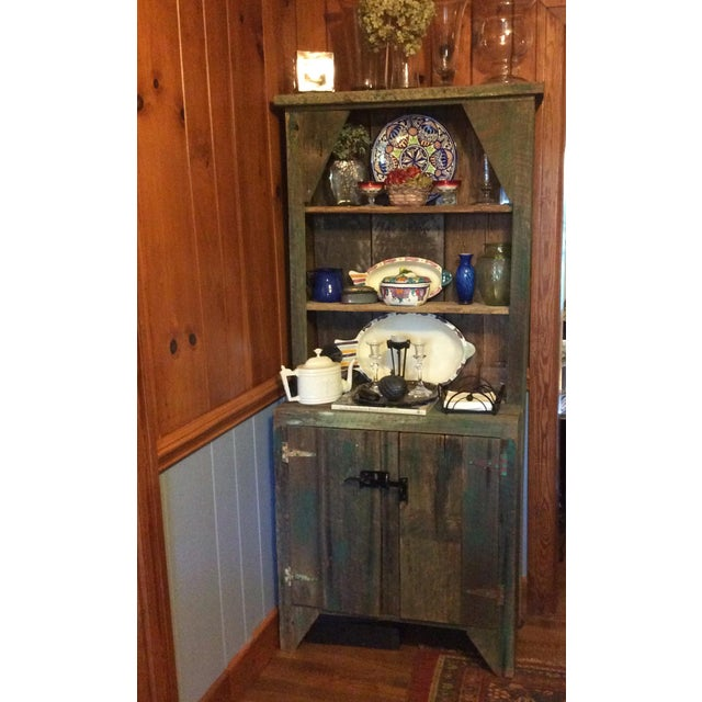 Green Primitive Wood Green Hutch For Sale - Image 8 of 13