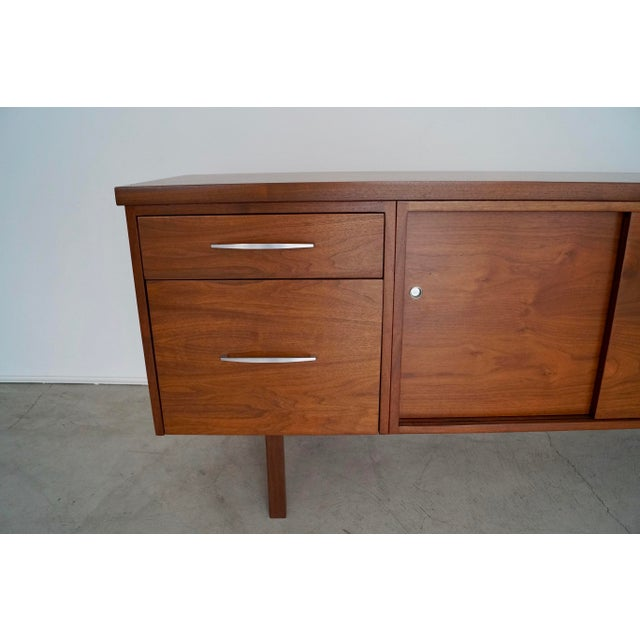 Metal 1960s Mid-Century Modern Refinished Walnut Credenza For Sale - Image 7 of 13