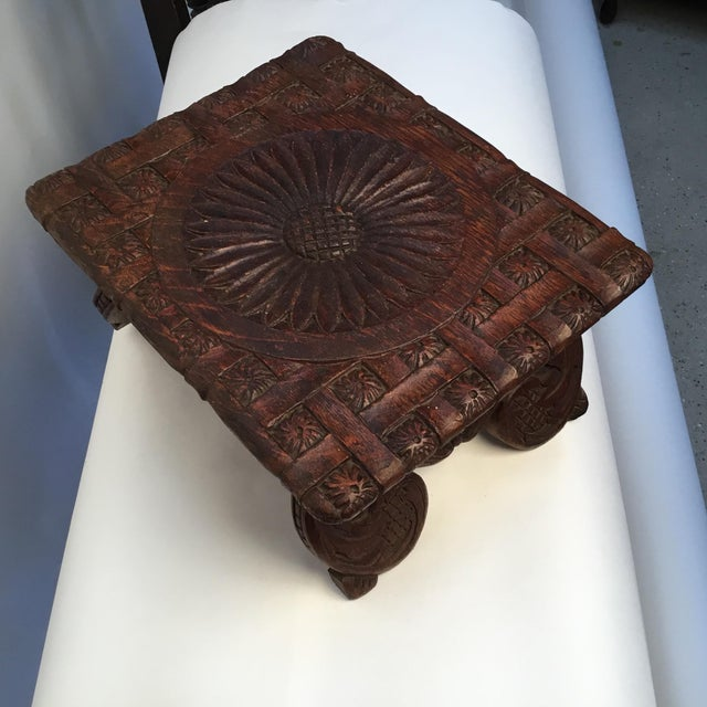 1900s Antique English Hand Carved Footstool For Sale - Image 10 of 12