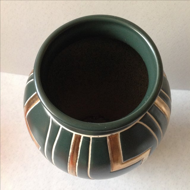 Green and Gold Art Deco Pottery Vase For Sale - Image 9 of 11