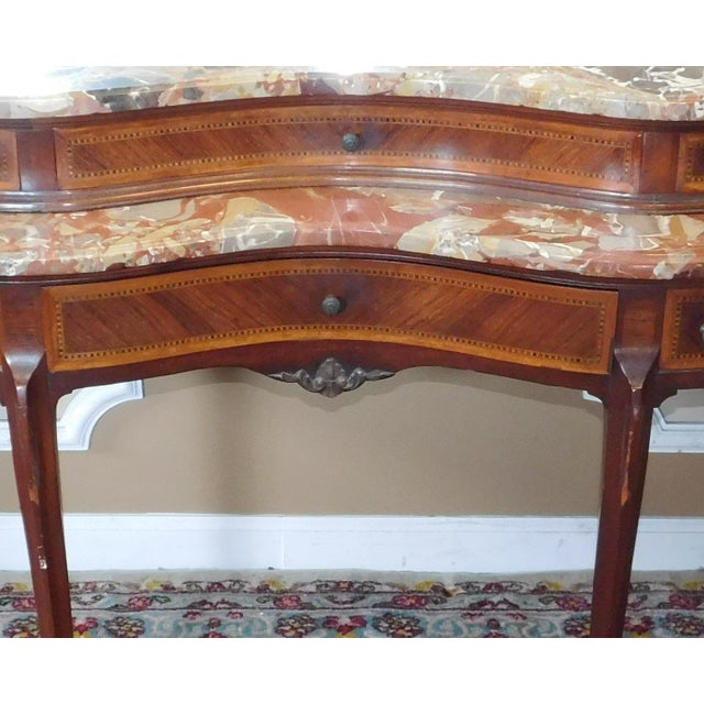 Fine 1920s French inlaid & Banded Mahogany Marble Top Bedroom Dressing Table Vanity w/ Mirror - Image 9 of 11