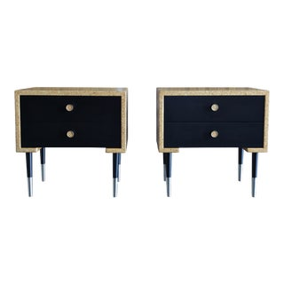1950 Mid-Century Modern Paul Frankl for Johnson Furniture Co Cork Nightstands - a Pair For Sale