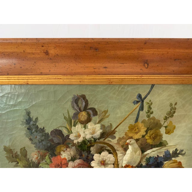 Still Life of Flower and Doves in Amazing Oak Frame For Sale - Image 11 of 13