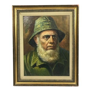 "Vintage Mid-Century Oil Portrait of a Skipper or Sea Captain, Signed ""Falk"" For Sale"