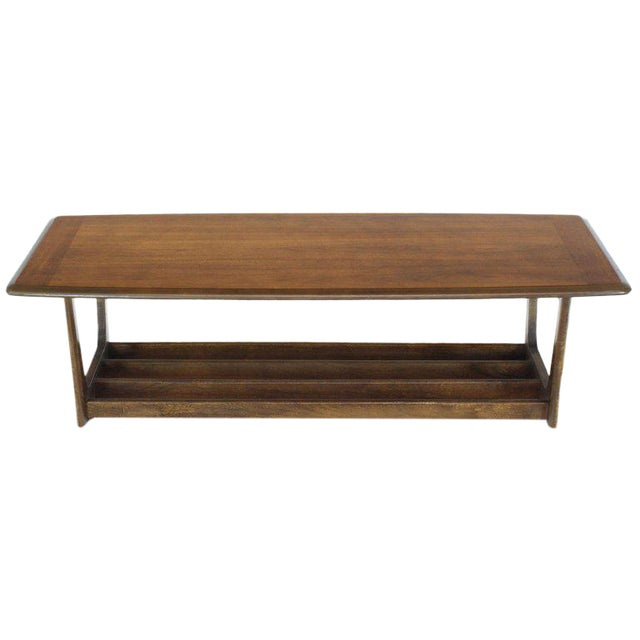 Lane Rounded Rectangle Shape Two-Tier Walnut Coffee Table For Sale