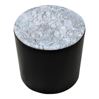 1970 Mid Century Modern Paul Mayen Style White & Gray Marble Top Drum Side Table For Sale