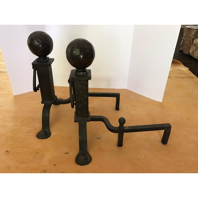 Antique Cannonball Cast Iron Fireplace Andirons Fire Dogs For Sale - Image 4 of 6