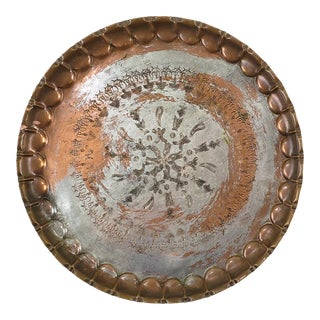 Vintage Hammered Egyptian Tinned Copper Round Tray For Sale