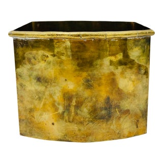 Vintage Faux Bamboo Trimmed Brass Cache Pot For Sale