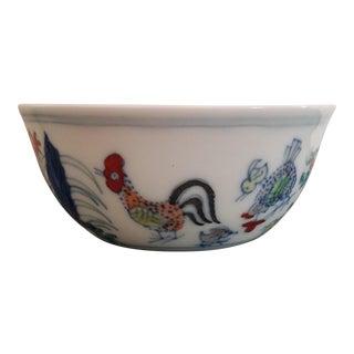 Chinese Porcelain Wucai Enamel Chicken Tea Cup Bowl