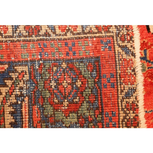 Folk Art Antique Heriz Persian Rusty Red Background Rug - 9′7″ × 11′7″ For Sale - Image 3 of 11