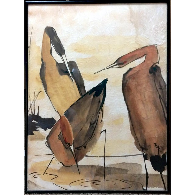 Asian Waterbird Ink & Watercolor Diptych - A Pair - Image 3 of 10