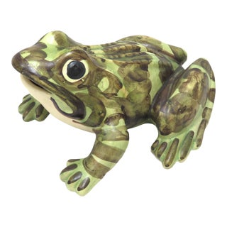Vintage Hand Decorated Pottery Bullfrog Garden Ornament For Sale
