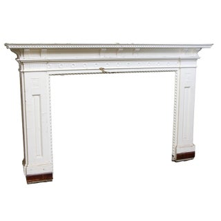 Painted White Wide Wooden Mantel For Sale