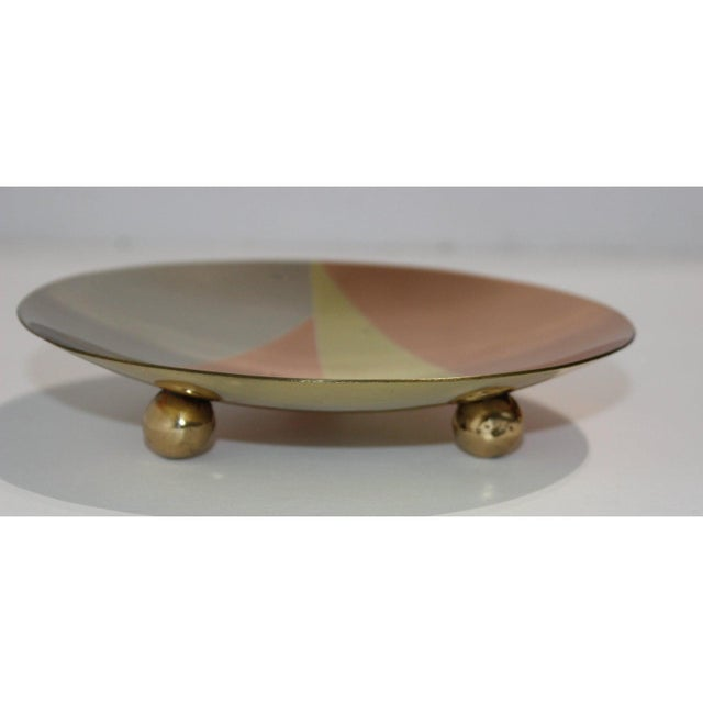 Metal Mid-Century Modern Metales Los Castillo Style Dish Mixed-Metal Round Footed For Sale - Image 7 of 9
