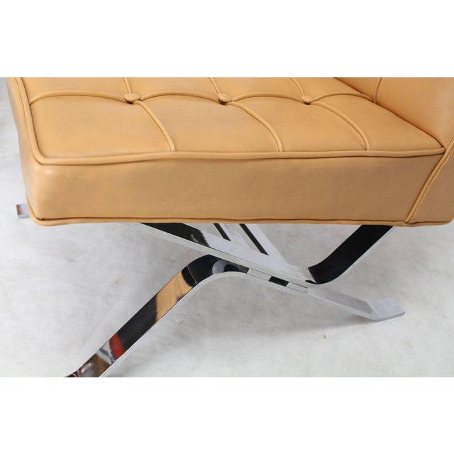 Chrome Mid-Century Modern Tufted Upholstery Chrome Base Settee Loveseat and Chair Set - 2 Pieces For Sale - Image 7 of 11