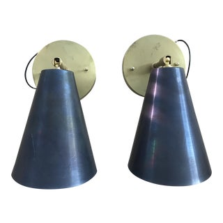 Tilt Brass Cone Sconces- a Pair