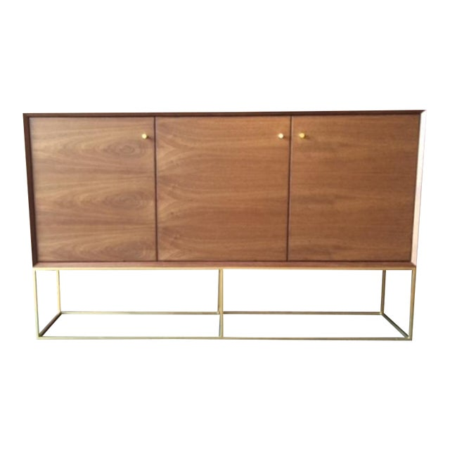 Custom Handmade Walnut Brass Base Credenza For Sale - Image 9 of 9