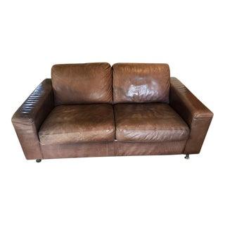 1960s Mid-Century Modern Minotti Leather Settee For Sale
