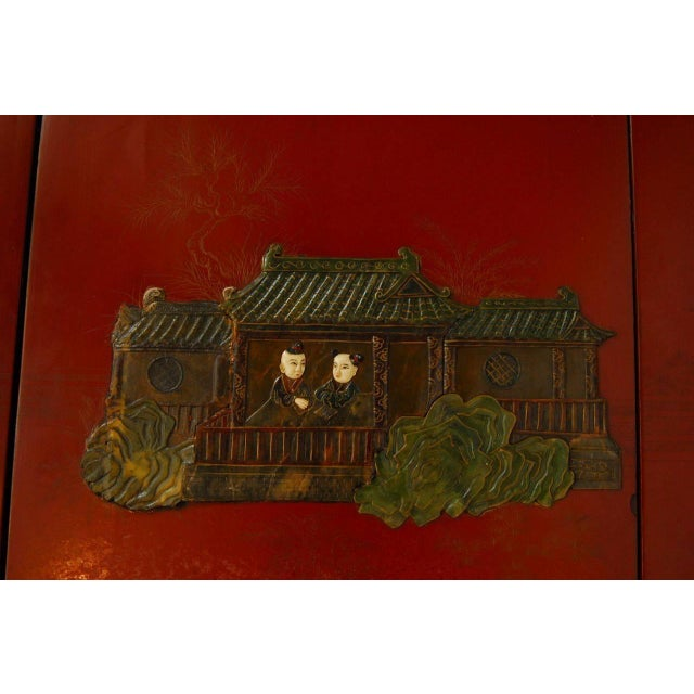 Chinese Hard-Stone & Red Lacquer Screen - Image 5 of 10