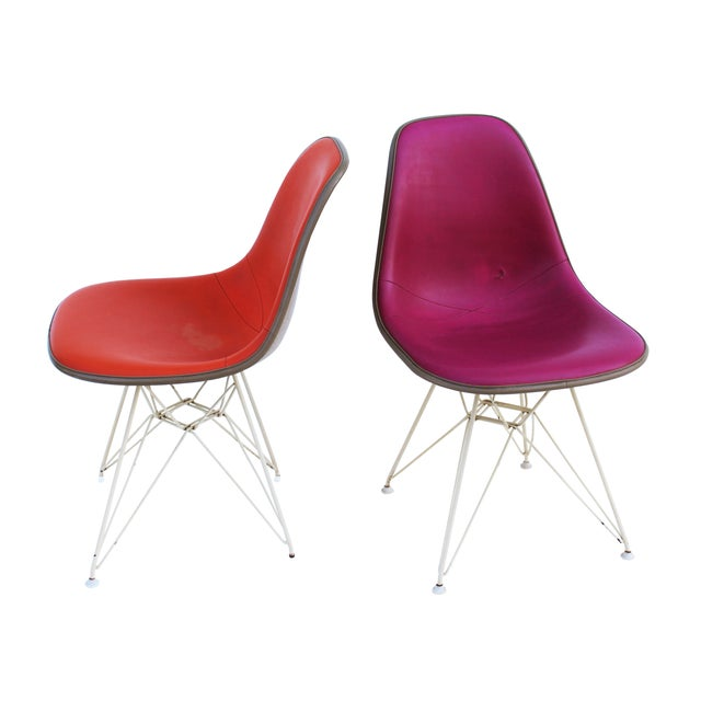 Pink & Orange Eames Chairs on Eiffel Bases - Pair For Sale - Image 6 of 10