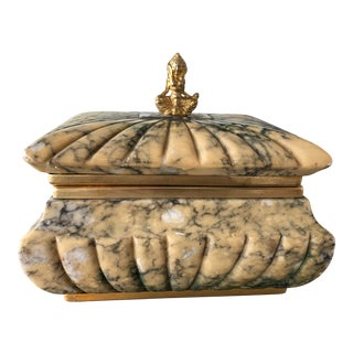 Italian Mid-Century Carved Alabaster Box For Sale