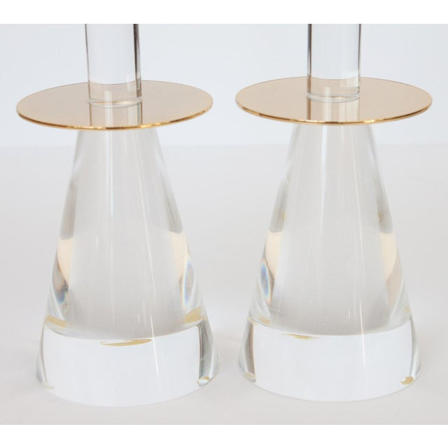 Lucite & Brass Candlesticks - A Pair - Image 3 of 8