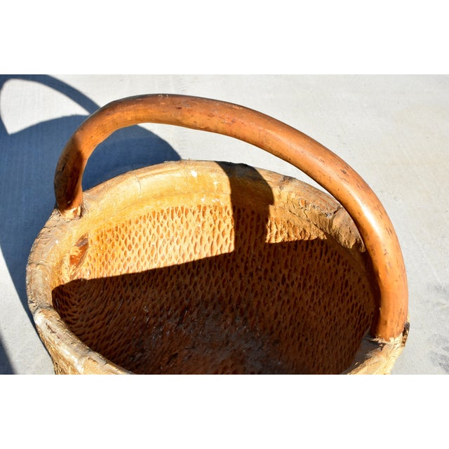 Chinese Country Willow Basket With Tree Branch Handle For Sale - Image 11 of 13