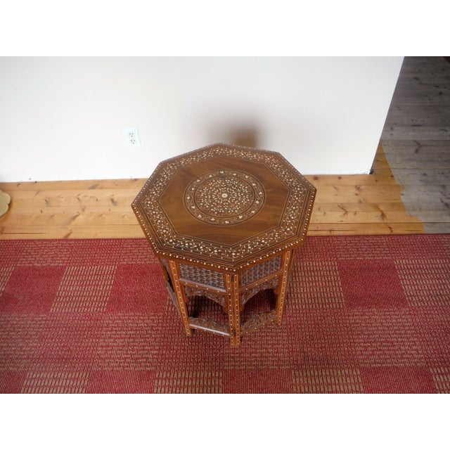 Arabic Style Carved and Inlayed Table For Sale In Salt Lake City - Image 6 of 9