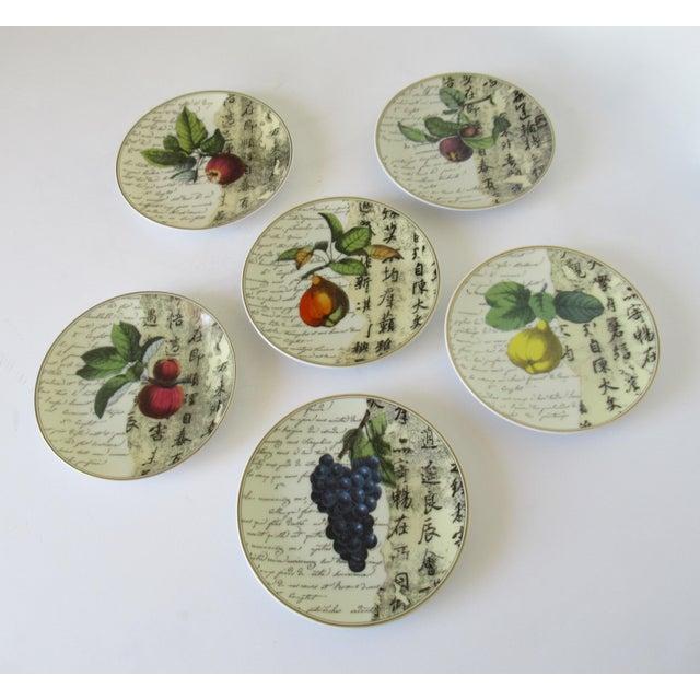 "Asian Bernaradaud Limoges ""Peosie"" Canapé Plates - Set of 6 For Sale - Image 3 of 13"
