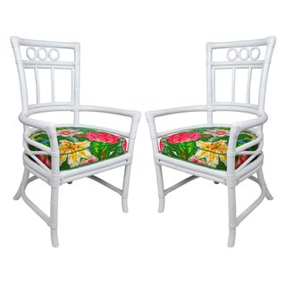 Ficks Reed Colony White Rattan Armchairs - a Pair For Sale