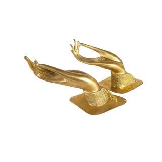 Brass Buddha Hand Door Handles - a Pair