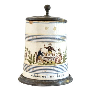 Antique Early 19th-Century German Pewter-Mounted Faience Tankard For Sale