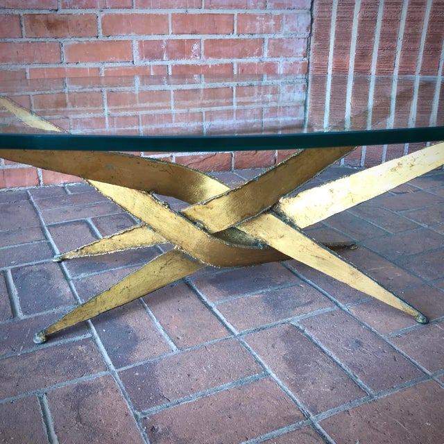 Silas Seandel 1960s Silas Seandel Brutalist Gold Metal + Glass Coffee Table For Sale - Image 4 of 7