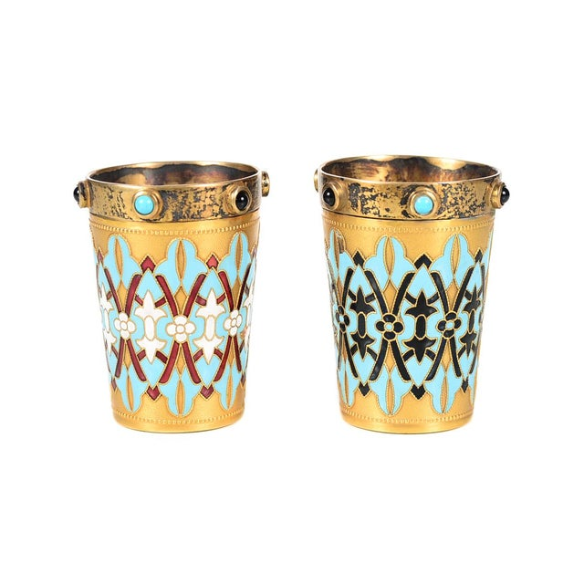 """Pair of antique Russian silver gilt & enamel shot glasses -Signed size 2 x 3"""" A beautiful piece that will add to your décor!"""