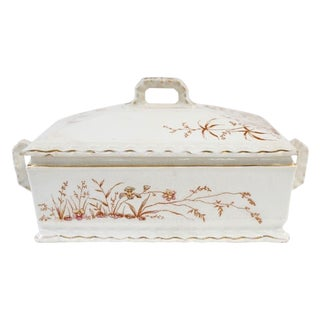 Antique Art Noveau Transferware Casserole For Sale