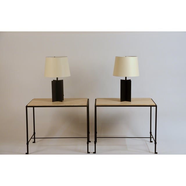 Contemporary Medium 'Croisillon' Matte Black Steel Table Lamps by Design Frères - a Pair For Sale - Image 3 of 11