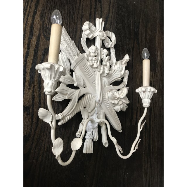 Palladio 1940s Palladio Italian Lighted Double Sconces With Arrows, Torch and Rose - a Pair For Sale - Image 4 of 9