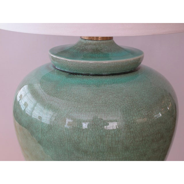 An over-scaled pair of American 1960's ovoid form celadon crackle-glaze lamps by Marbro - Image 2 of 4