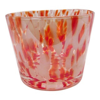 1990s Contemporary Handblown Red White Spatter Glass Bowl For Sale