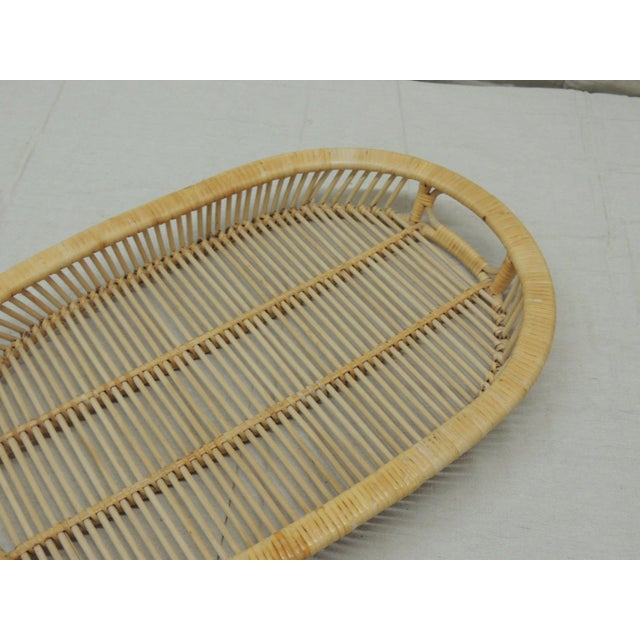 Contemporary Vintage Rattan Woven Oval Serving Tray With Handles For Sale - Image 3 of 6