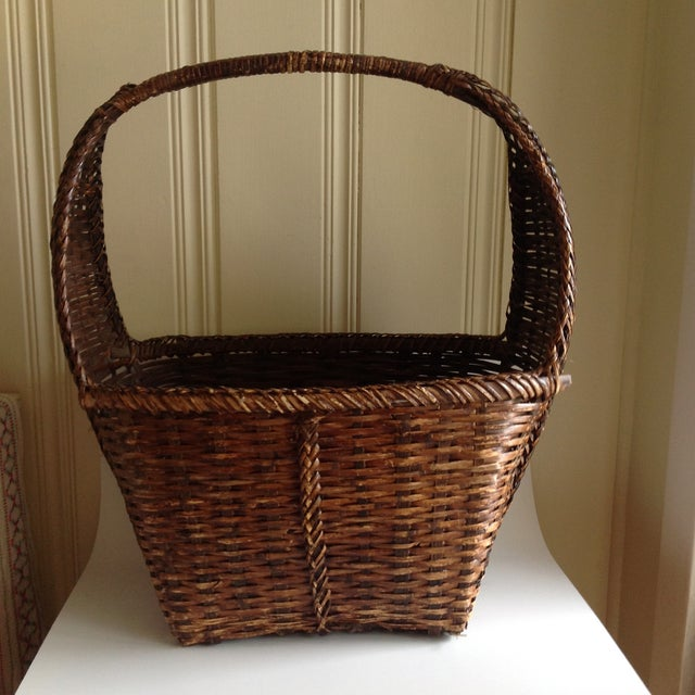 This is a large, rustic wood wicker basket. It make a beautiful organizational piece of decor for throws, guest towels,...