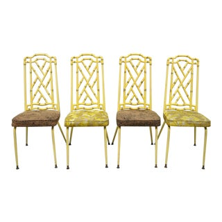 Yellow Metal Faux Bamboo Dining Chairs - Set of 4