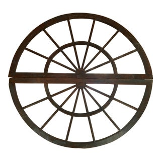 Huge Antique Double Arched Round Wheel Mirror For Sale