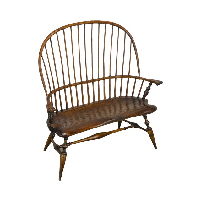 Windsor Style Hand Crafted Miniature Childs Settee by K. Malone (18th Century Reproduction) For Sale