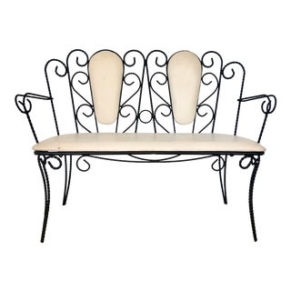 Midcentury Wrought Iron Bench For Sale